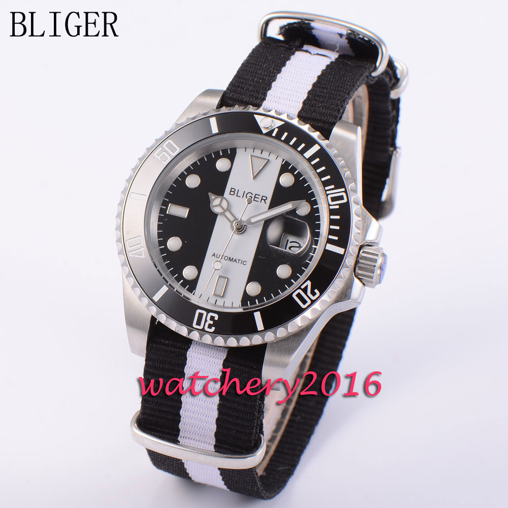 40mm Bliger sapphire glass black & white dial ceramic bezel luminous marks date adjust automatic movement Men's Watch