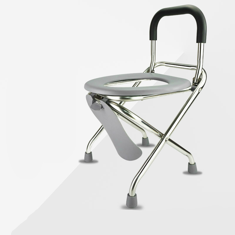 все цены на Household Old People Commode Chair with Backrest Stainless Steel Stable Patients Potty Chair Foldable Safe Pregnant Woman Stool