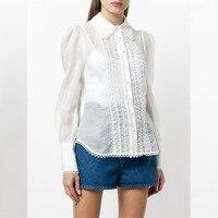 Women Golden Doily Blouse White Linen silk Blend Golden Doily Shirt Wing Collar Retro inspired Semi sheer Shirt With Eyelet Trim