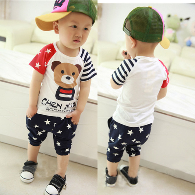 fcf215666 2015 new hot sale baby boy clothes summer children's clothing set t  shirt/tee small bear short sleeve cotton 2pcs set kids suit
