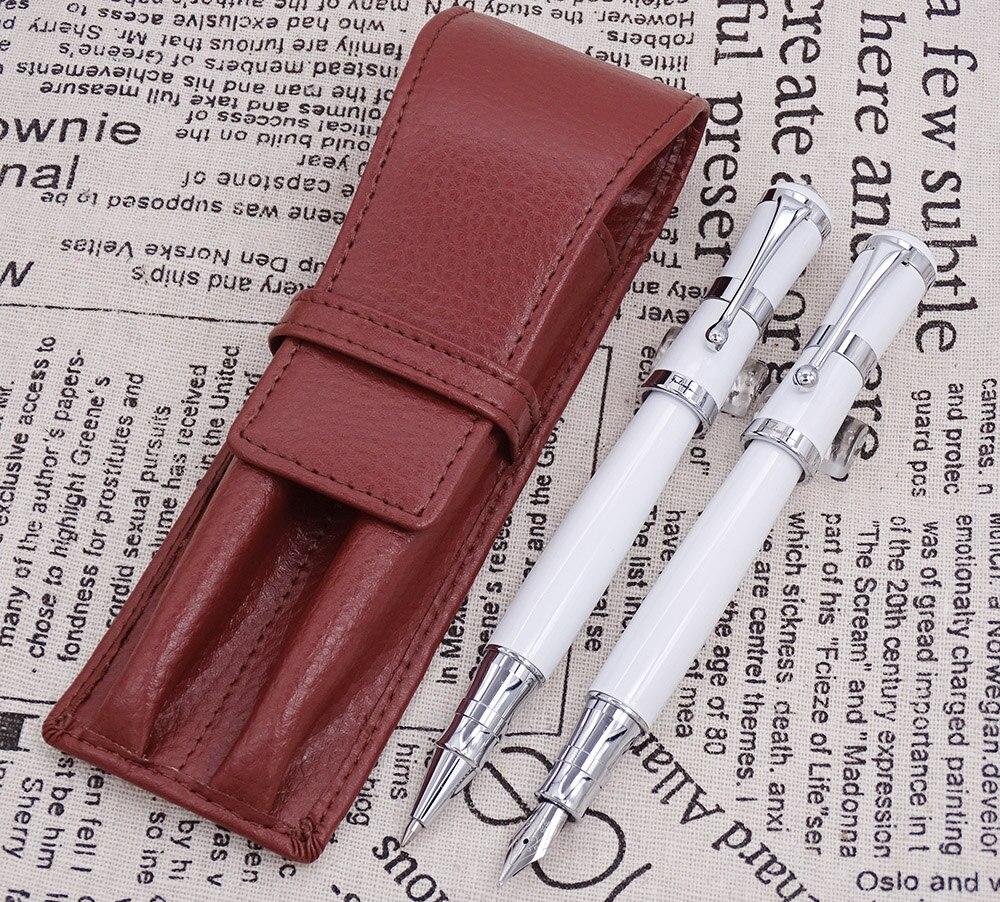 Fuliwen 2051 stylo plume en métal blanc et stylo à bille avec étui à crayons en cuir véritable sac lavé étui à stylo en peau de vache ensemble d'écriture