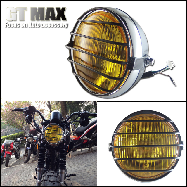 Charm Gloden Yellow Glass 65 Dual Beam Motorcycle Headlamp With Type Metal