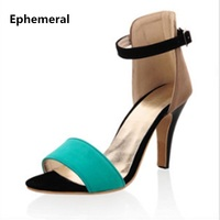 Ladies Sapato Zapatos Sandalia Cao Gót Dép Feminino Salto Bìa Giày gót Với Buckle Strap Orange Red Blue Cộng Với Kích Thước 43