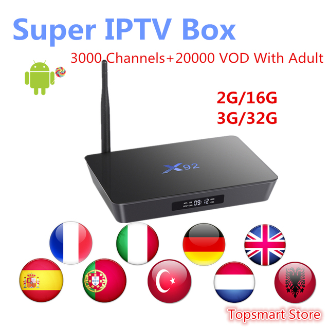 X92 android 7.1 tv box 2G/16G 3G/32G Amlogic s912 Octa-core 3000+Europe French Italy German UK IPTV Hot club Smart set top box