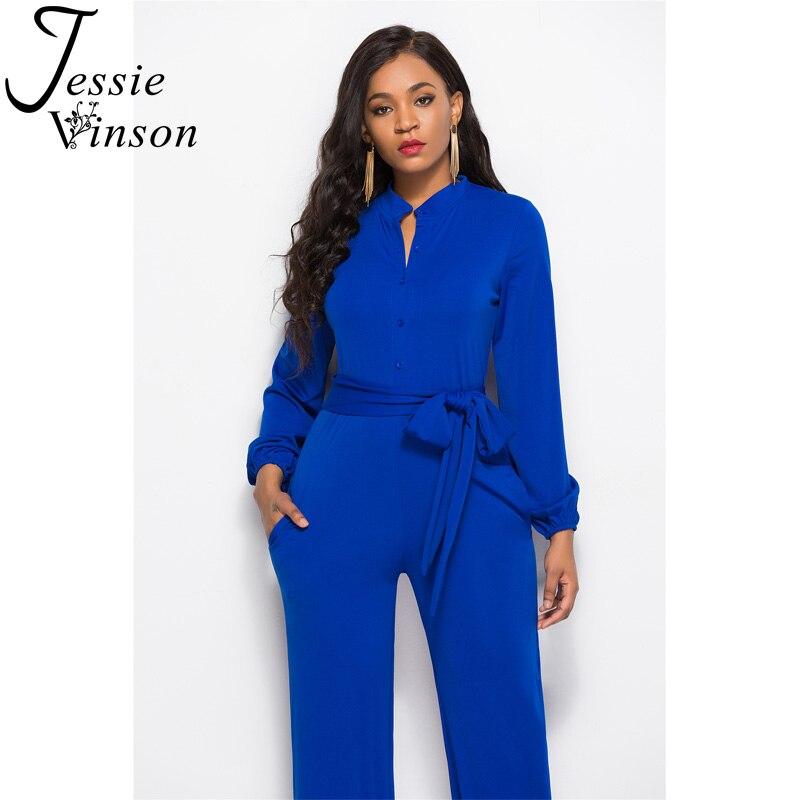 de259c53ecdc Jessie Vinson Turtleneck Long Sleeve Wide Leg Jumpsuit Buttons Black  Rompers Womens Jumpsuits Plus Size Long Pants Overalls -in Jumpsuits from  Women s ...
