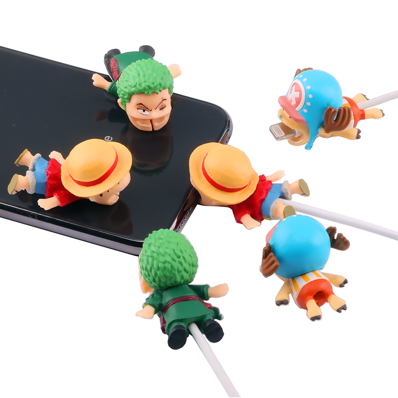 SIANCS Cute One Piece Doll Cable Bite Protector For iphone Usb Cable Cartoon Organizer Winder Chompers Chopper Luffy