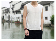 2019 summer new Chinese style cotton and linen mens casual sleeveless vest retro large size fashion Hanfu men