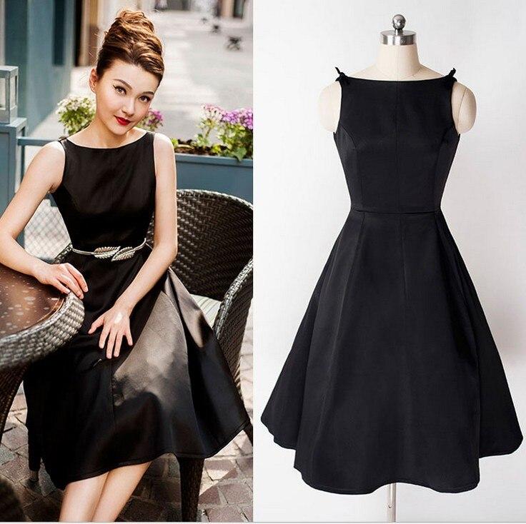 bcb7ecc0d5 Audrey Hepburn Dress Retro Little Black V back Dress Women Bodycon ...