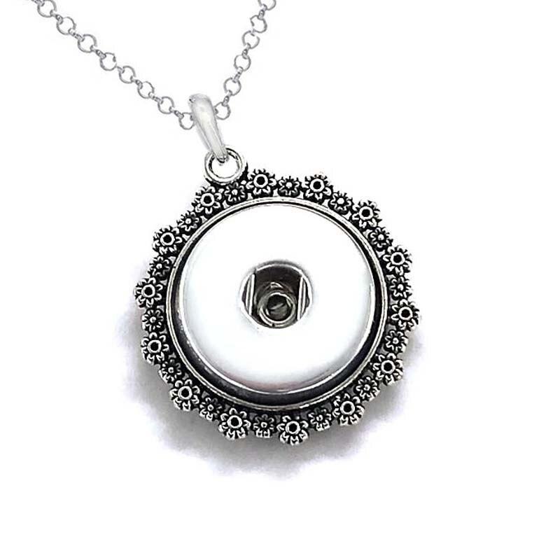high quality flowers 052 Women's Vintage 12mm 18mm snap button necklace bohemian necklaces & pendants DIY Jewelry for women men