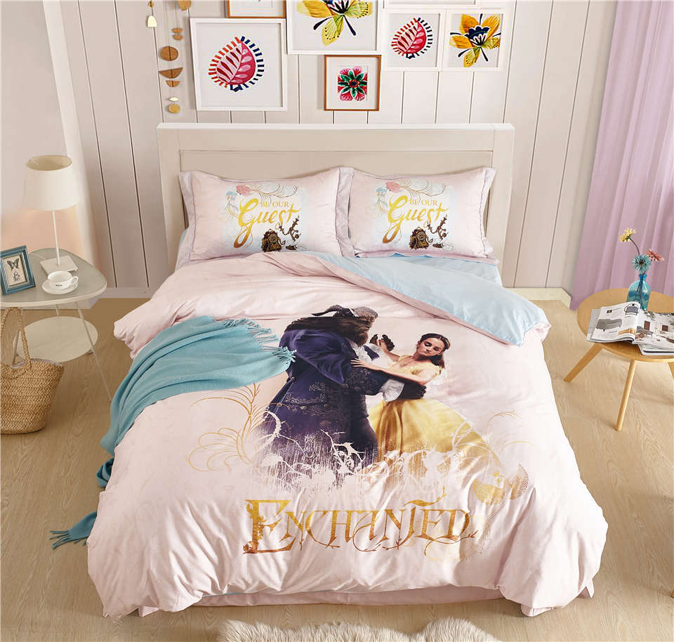 100 cotton princess bedding set beauty and the beast for Juego de cuarto queen size