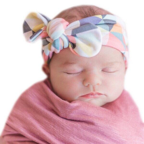 2017 Lovely Newborn Headband Fashion Bunny Ear Kids Girl Bow Elastic Knot Headbands DIY Bowknot Headwear Hair Accessories 3