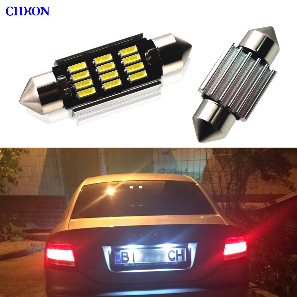 2PCS Canbus LED Festoon C5W Car Number Plate Bulbs White Cold White for <font><b>Audi</b></font> A3 A4 <font><b>A6</b></font> A8 Q3 Q5 License Plate Light Lamp ciihon image