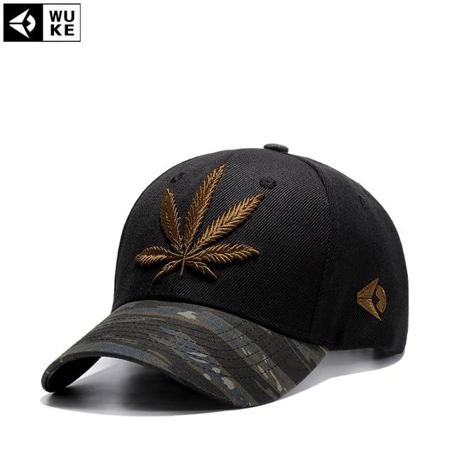 e92e01db139 Wuke Fashion Embroidery Maple Leaf Cap Weed Snapback Hats For Men Women  Cotton Swag Hip Hop