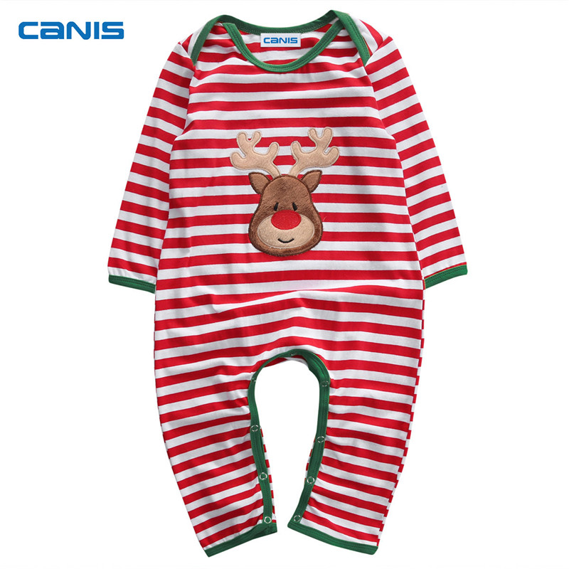 Newborn Toddler Baby Boy Girl Kid Long Sleeve Striped Christmas Costume Pajamas Sleepwear Romper Jumpsuit Clothes Outfit 0-24, 2017 baby girl summer romper newborn baby romper suits infant boy cotton toddler striped clothes baby boy short sleeve jumpsuits