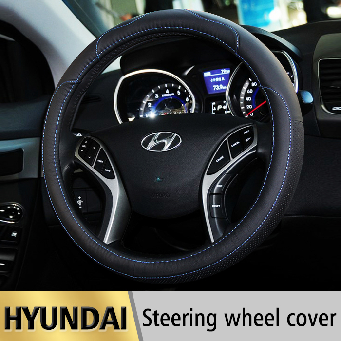 Leather Car Styling Steering Wheel Cover For Hyundai Tucson IX35 I30 Solaris Elantra Accent Getz Santa Fe I20 Auto accessories стоимость