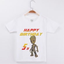 Limited Time Discount Happy Birthday T-shirts Groot printing Cotton Half Sleeve Kids Clothes Boys Tops Child Clothing Boy Tees
