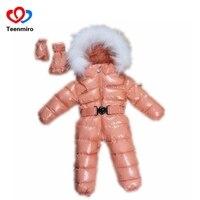 Осенне зимний комбинезон для малышей, детский комбинезон на утином пуху с меховым воротником, толстый комбинезон для малышей, комбинезон дл