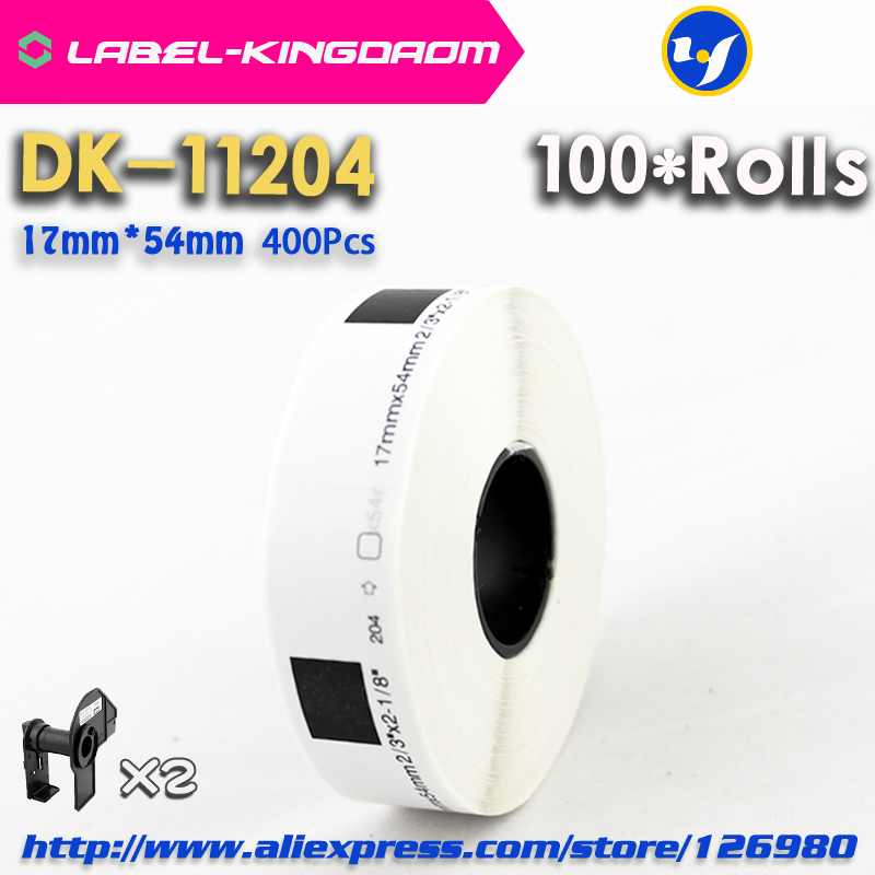 100 Refill Rolls Compatible DK 11204 Label 17mm*54mm 400Pcs Compatible for Brother Label Printer White Paper DK11204 DK 1204-in Printer Ribbons from Computer & Office    1