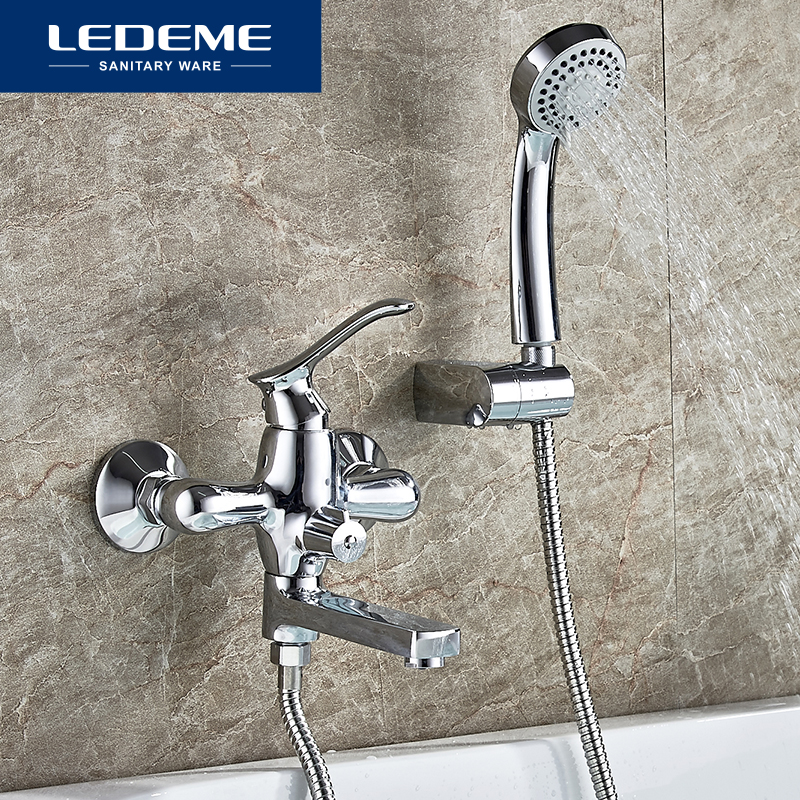 LEDEME Bathroom Bathtub Faucet Bath Faucet Cold and Hot Water Mixer Tap With Hand Shower Head Set Wall Mounted Long Nose L3141 frap classic bath bathtub faucets long trunk bathroom bathtub mixer hot and cold water wall mounted shower faucet f2244