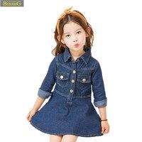 -13y Modo di Estate Vestito Dalla Ragazza Denim Famoso Designer di Marca Principessa Dresses Abbigliamento Pulsanti Decorazione Bambini Vestiti Vestidos