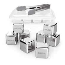 Stainless Steel Ice Cubes, Chilling Whiskey Stones Reusable Cubes Set with Freezer Tray, Perfect for Scotch, Bourbon, Irish