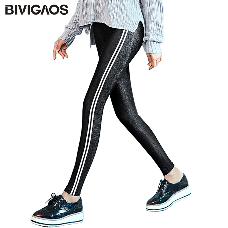 BIVIGAOS Women Winter Warm Leggings Side White Striped Gloss Pants Thick Velvet Leggings Black Elastic Slim Legging Pencil Pants