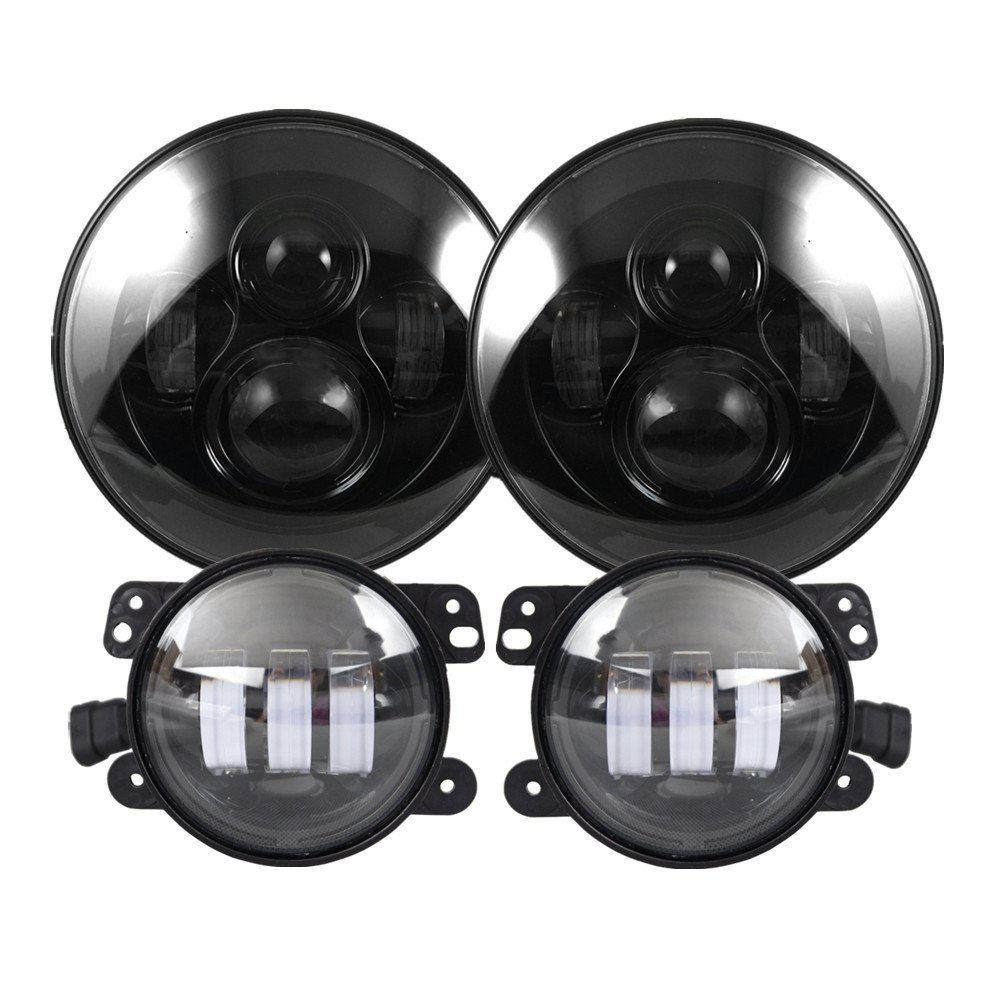 2 X 7 Inch Wrangler LED Headlights With Pair of 4 Inch LED Fog Lights For Jeep Wrangler JK TJ FJ Unlimited