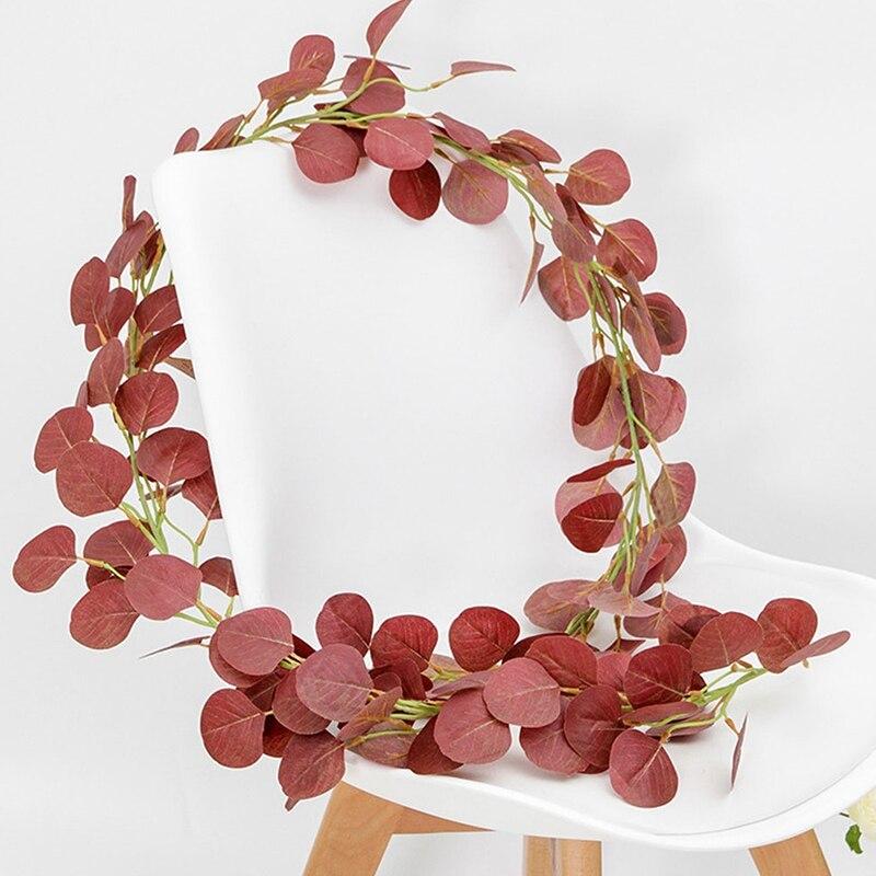 fc7a03e9ae815 2 M simulación de hojas de eucalipto redondas plantas de vid artificial  decoración del Partido de la boda decoración del hogar