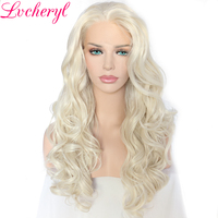 Lvcheryl Hand Tied Natural Long Wavy White Blonde Color High Density Soft Heat Resistant Synthetic Lace Front Women Wigs