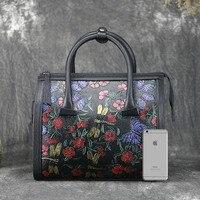Мешок от имени 2017 новые женские ретро ручная роспись кожаные женские сумки кожа с большой емкостью натуральная кожа