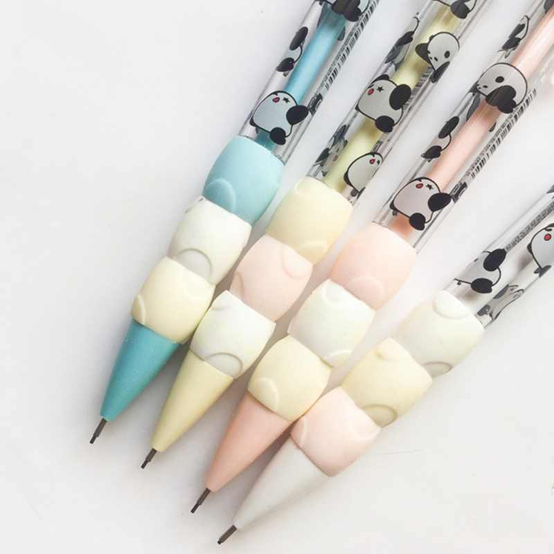 Kawaii Cartoon Panda Creamy Press Automatic Mechanical Pencil 0.5mm School Office Supply For Student Gift Color Random