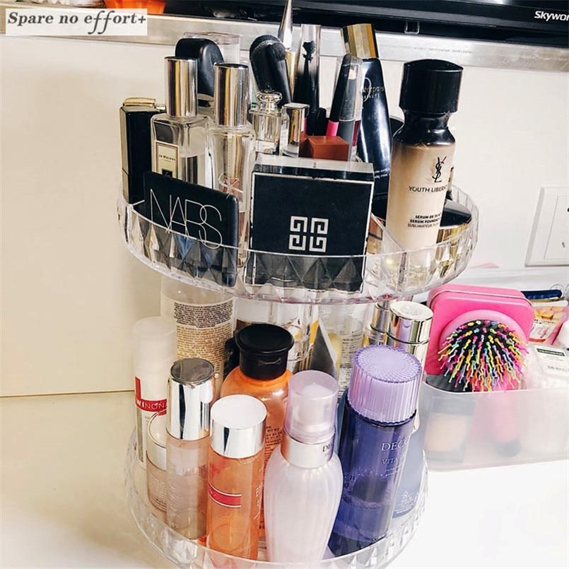 Rotating Makeup Organizer Plastic Storage Brush Holder Jewelry Organizer Case Cosmetic Storage Box Maquillage 360-degree