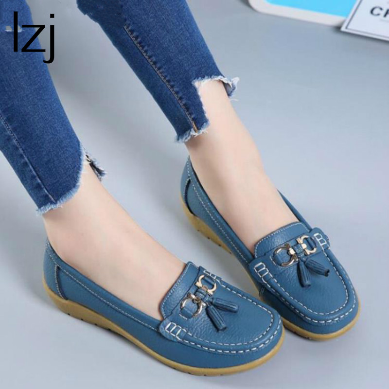 LZJ 2018 Spring Autumn Shoes Woman Cow Leather Flats Women Slip On Women's Loafers Female Moccasins Shoe Large Size 35-43 5272