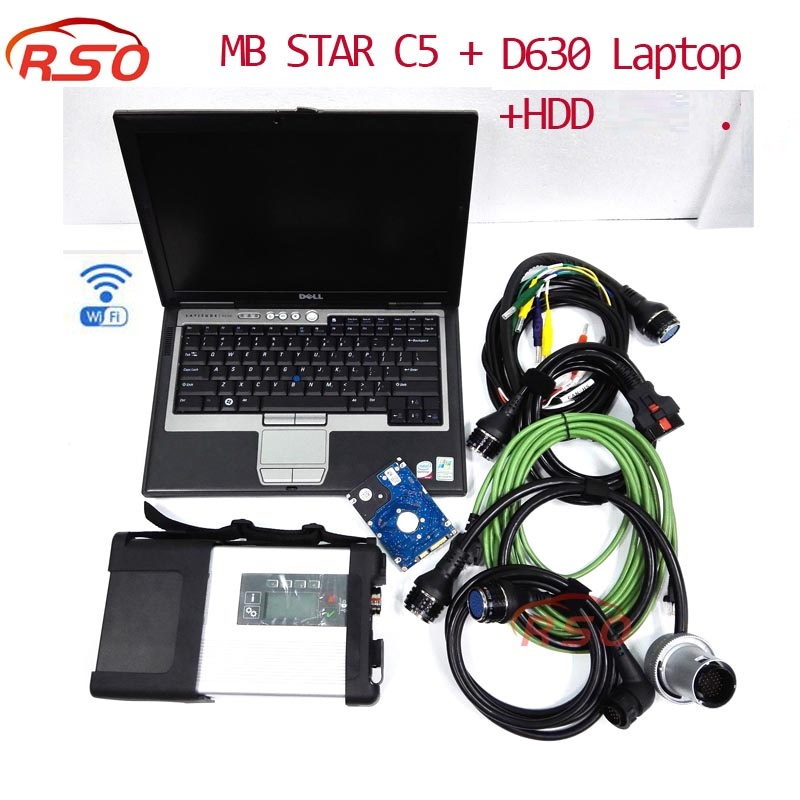 Professional MB Star C5 with software HDD vediamo & Laptop D630 FOR Ben-z cars Diagnosis C5 SD Connect Wire/Wireless Connection