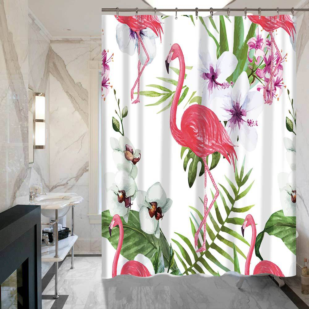 shower curtain shower environmentally friendly. New Pink Flamingo Fabric Waterproof Shower Curtain Bathroom Eco Friendly High Quality -in Curtains From Home \u0026 Garden Environmentally A