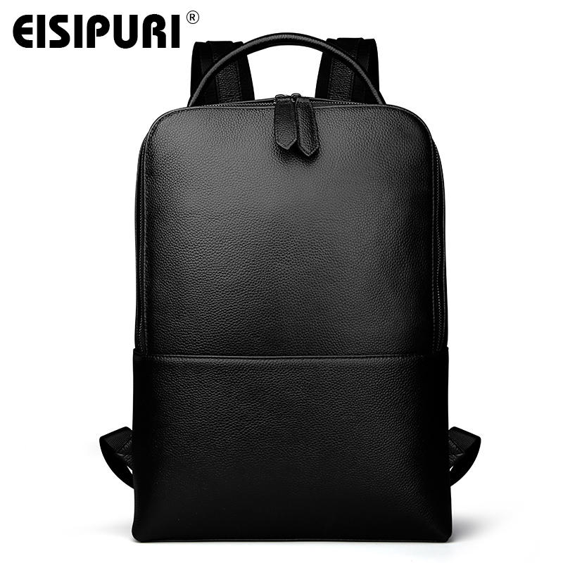 EISIPUR Fashion Men 100% Genuine Leather Backpack Male High Quality Waterproof Bagpack 15.6 Laptop Backpack Travel School Bag 2018 fashion men backpack genuine leather bag men travel backpack laptop famous brands high quality male big capacity backpack