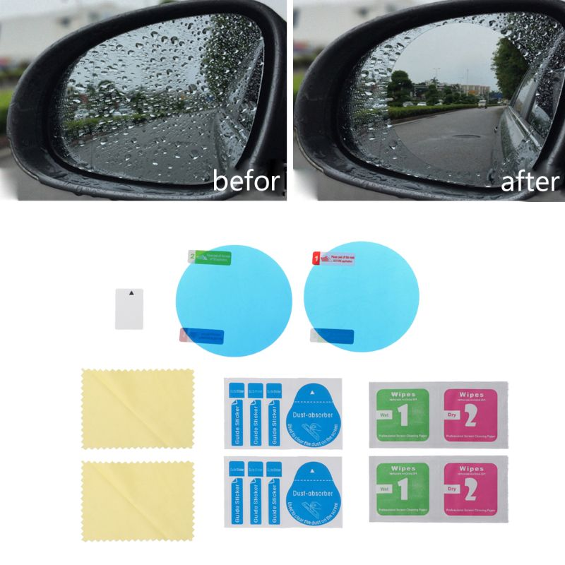 New 1 Pair Auto Car Anti Water Mist Films Round Shape Anti-fog Coating Rainproof Rearview Mirror Protective Film Protector Case