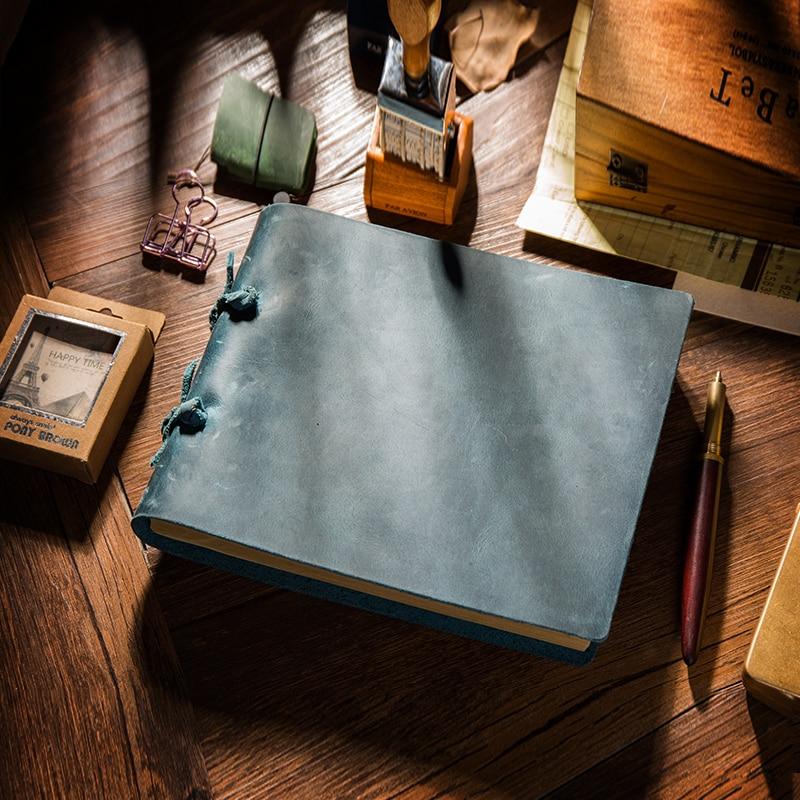 Hot Sale 100% Genuine Leather Notebook Handmade Vintage Cowhide Diary Journal Sketchbook Planner