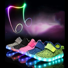CRESTGOLF Summer Kids Sport Shoes LED Sneakers Children Breathable Shoes Colorful Lighted Luminous Shoes for Boys