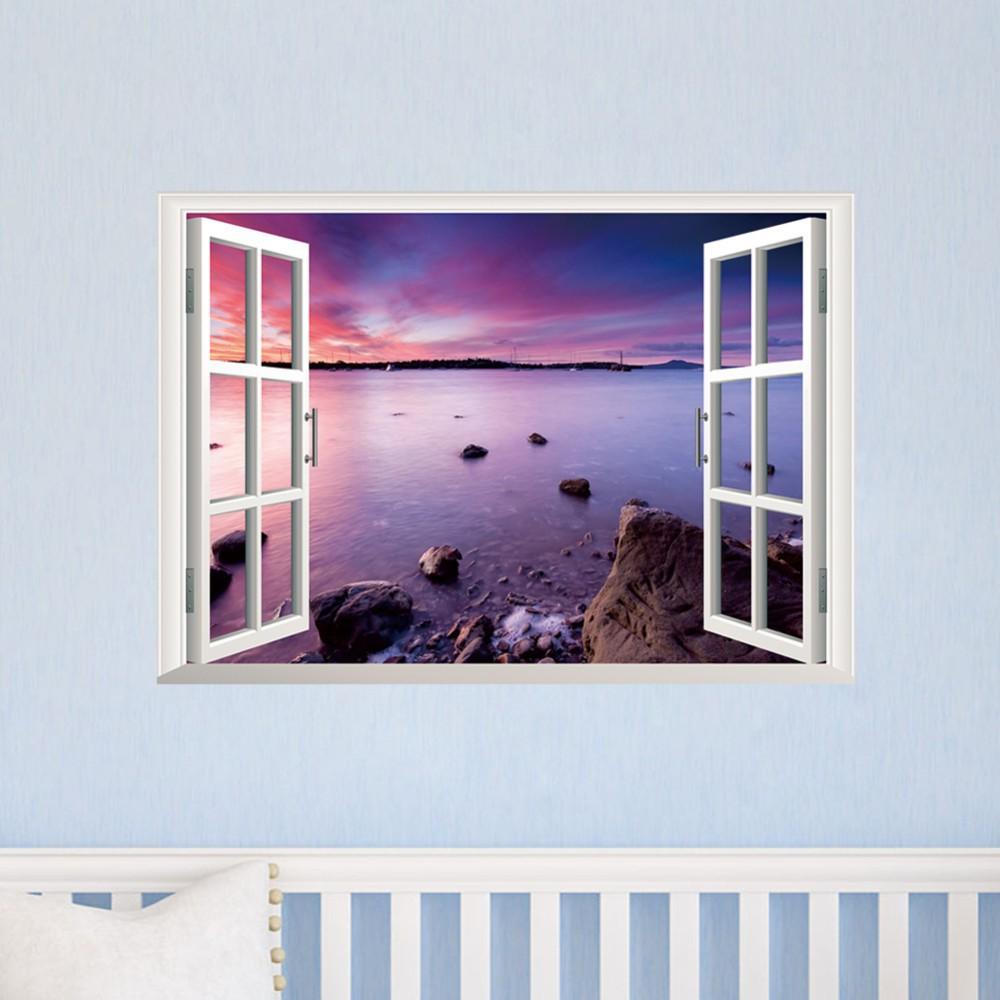 3D Sand Strand Seestck Fenster PVC Wandaufkleber Kinder Wohnzimmer Kindergarten Schlafzimmer Wohnkultur Sonnenuntergang Wand