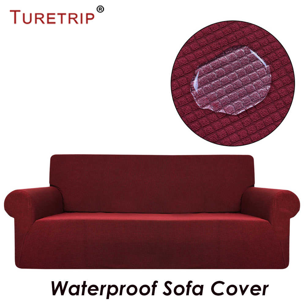 Turetrip Waterproof Sofa Cover For Sofa Slipcover Full Folding Elastic With Arm Stretch Furniture Protector 1PC Plaid Sofa Cover