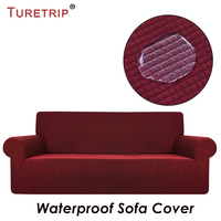 Turetrip Waterproof Sofa Cover For Sofa Slipcover Full Folding Elastic With Arm Stretch Furniture Protector 1PC Plaid Sofa Cover