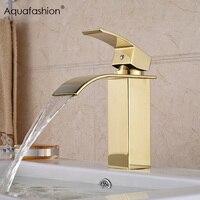 Золотой смеситель для ванной комнаты Водопад с одной ручкой золотистый водопроводный кран для ванной комнаты кран горячей холодной золото...