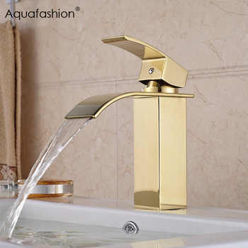 Gold Bathroom Faucet Waterfall Single Handle Golden Tap Bathroom Sink Hot and Cold Basin Faucet - DISCOUNT ITEM  35% OFF All Category