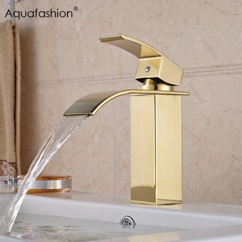 Robinet de salle de bain en or cascade poignée unique robinet doré bassin de salle de bain robinet en or froid chaud