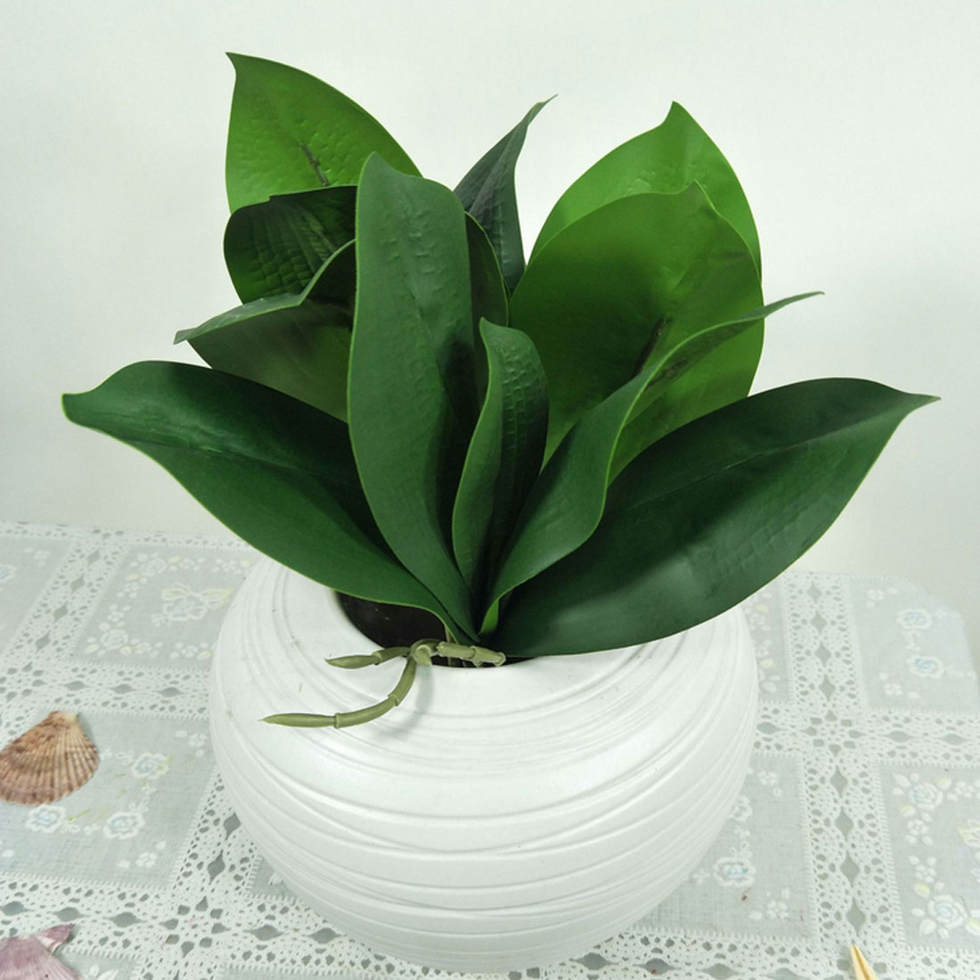 Green Orchid Leaves Gluing Texture DIY Potted Flower Artificial Flower Plant Real Touch Latex Orchid Leaf Wedding Decoration