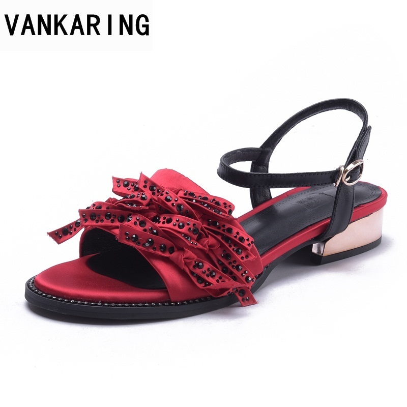 VANKARING women shoes new 2018 summer gladiator women slipper open toe middle heels ladies red casual date dress party sandals vankaring new sandals shoes women cruare strange style low heel open toe summer woman black dress party casual sandals slipper
