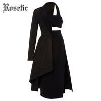 Rosetic Gothic Asymmetric Suit Dress Women Black Royal Blue Autumn Patchwork Backless Midriff Sexy Street Fashion