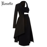 Rosetic Gothic Asymmetric Suit Dress Women Black Royal Blue Autumn Patchwork Backless Midriff Sexy Street Fashion