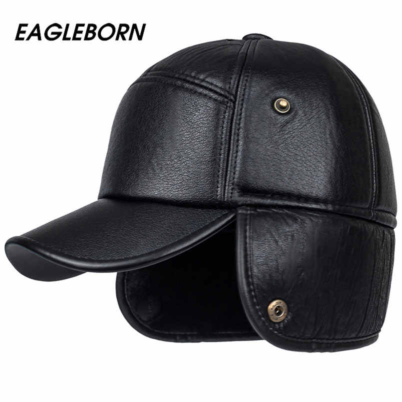 039e7ffa7 2019 Men winter hats PU leather baseball cap men protect ear fur bomber  hats snapback casquette outdoor Keep warm dad hat gorras